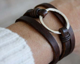 Leather Bracelet/ Eternity Symbol Bracelet/Sterling Silver Hammered Circle/Leather Wrap Bracelet/IseaDesigns