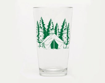 Beer Glass - Barware - Glassware - Screen Printed - Made in USA - Camping - Beer Glass - Mountains - Outdoors