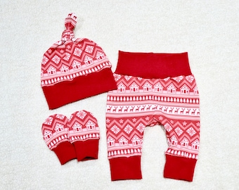 Baby Boy/Girl Outfit, Red and White Nordic Fair Isle, Christmas Outfit, Winter Outfit, Baby Set, Baby Shower Gift