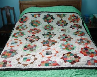 Handmade Square Stars patchwork quilt