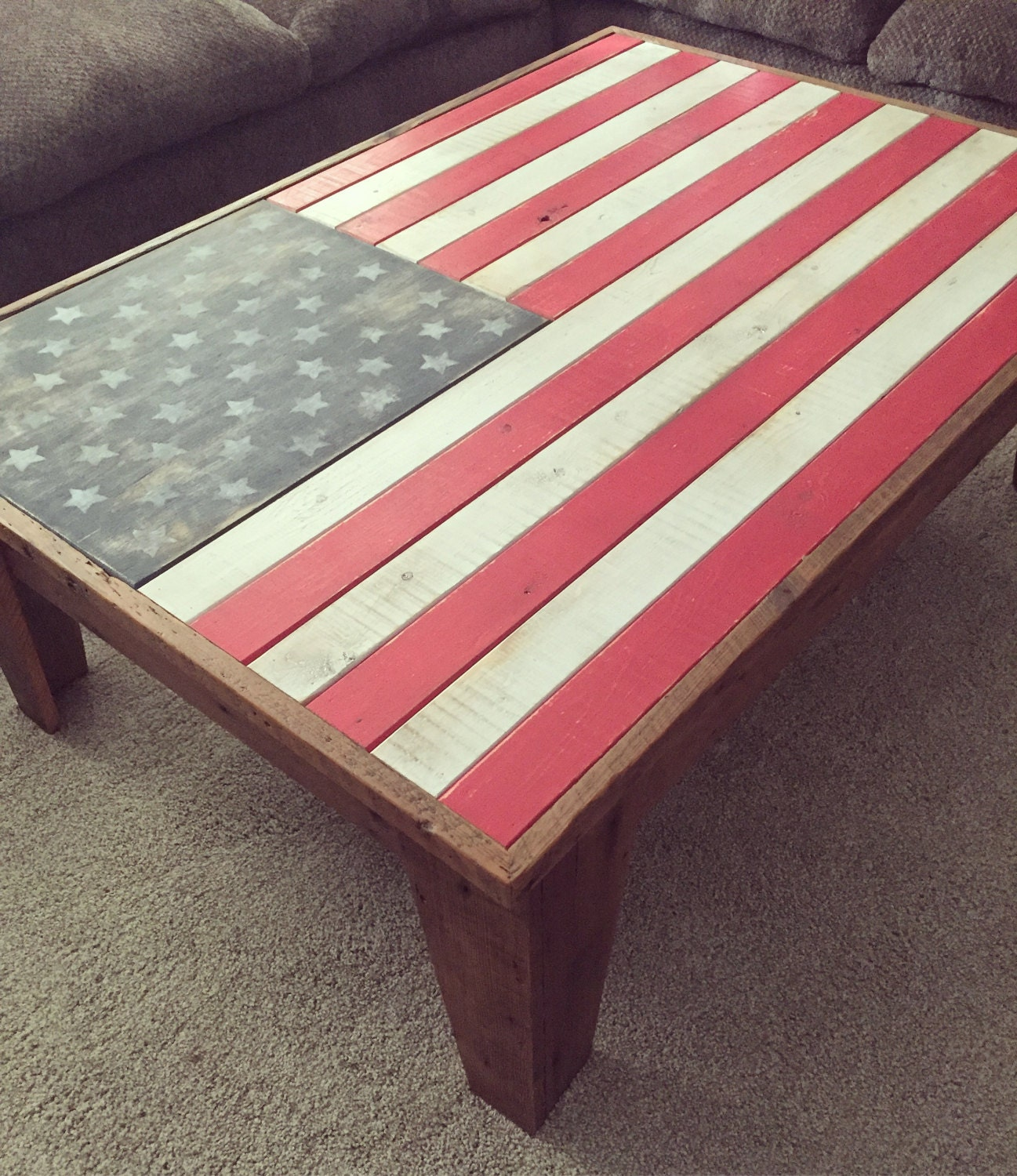 Concealed Storage Coffee Table American Flag USA