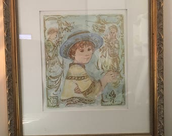 Vintage Edna Hibel Lithograph Signed very rare