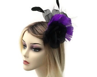Beautiful Black and Purple Rose Flower Fascinator on a Hair Clip with Brooch Pin