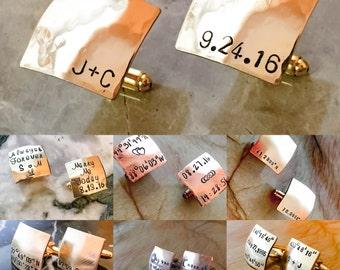 Hand Stamped Cufflinks - Custom Cufflinks - Round Stamped Cufflinks - Your Name, Quote - Personalized Stamped Cufflinks