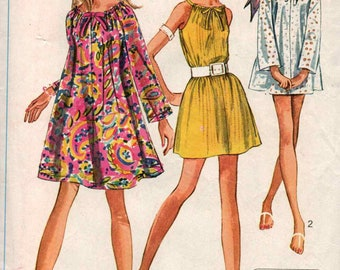 Vintage 1968 Simplicity Womens Peasant Dress or Tunic Top Sewing Pattern #7689 Size 12 - 14 Bust 34 - 36