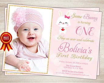 Bunny First Birthday Invitation Rabbit Printable Pink and Gold Easter Birthday Invitation Bunny 1st Birthday Party Invite
