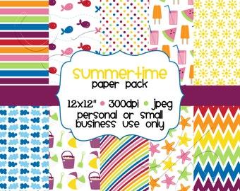 Printable Summertime Digital Scrapbooking Paper Pack