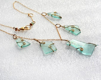 Ancient Roman Glass Necklace Roman Glass Jewelry Gold Filled Necklace Chain Necklace Handmade Necklace Israeli Jewelry Free Shipping Israel