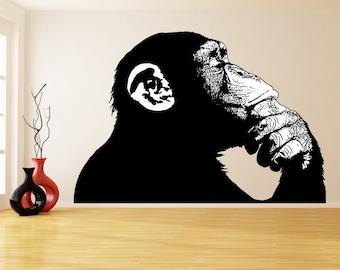 Banksy Vinyl Wall Sticker Thinking Monkey With White Parts