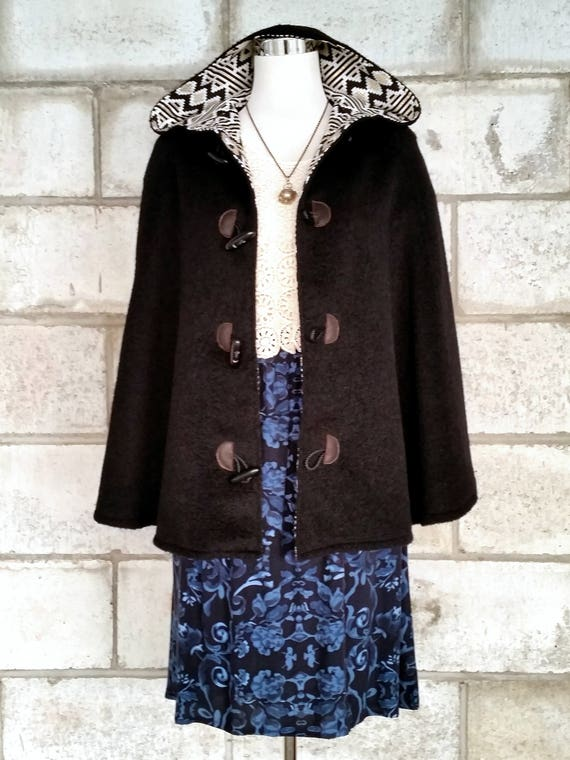 Black Wool Cape, Cloak, Poncho, Coat with Hood and Wooden Toggles.