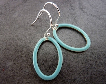 Sky Blue Earrings/Oval Earrings / Sterling Silver Earrings/  Simple Drop Earrings/ Everyday Earrings/ Modern Earrings/ Minimalist Jewellery