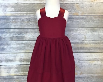 Girls burgandy dress - Toddler crimson dress - maroon girls dress - Toddler chiffon dress - Special Occasion dress - Ballerina dress - Wine