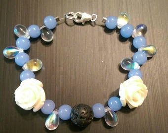 Essential Oil Diffuser Bracelet with Lava Rock, Glass, and Stone
