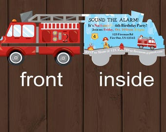 Fire Truck Birthday Party Invitations - Fireman Party - Fire Truck Invitations - Firetruck Birthday Party - Free Shipping