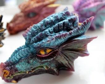 DRAGON SOAP, Dragon Head, Hand Painted, Celtic Dragon Soap, Reptile, Fire Breather, Fantasy Soap, GOT Soap