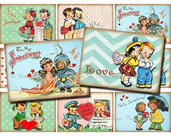 INSTANT DOWNLOAD, Printable Valentines, Digital collage sheet of retro, vintage couples for tags, cards, scrapbooking and more, atc aceo