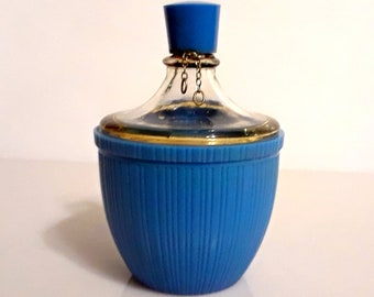 Vintage 1930s Oeillet Bleu Blue Carnation by Roger et Gallet 1 oz Pure Parfum Art Deco Blue Celluloid Demijohn Bottle Vintage Perfume