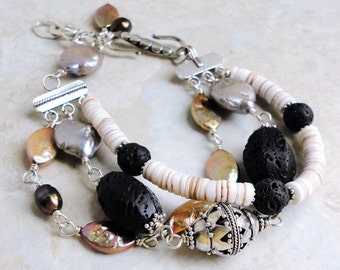 Pearl, Shell, Lava Stone, Handmade Triple Strand Bracelet with Bali Sterling Silver, Black Gold White, One Of A Kind