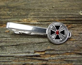 Steampunk Cross Ruby Tie Clip-Silver-Tie Clip Box-Gift Box-USA-Wedding-Keepsake-Man-Groom-Groomsmen-Men Gift