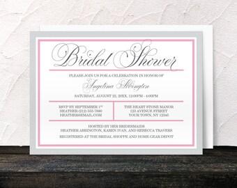 Pink Bridal Shower Invitations - Modern Pink and Gray - Printed Invitations