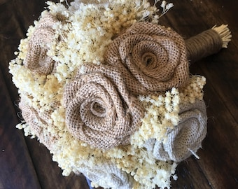 Burlap & Ivory Bridesmaids Bouquets (Choose Size) One bouquet : Rustic Bouquets, Burlap Bridesmaids Bouquets, Bridesmaids Bouquets, Burlap