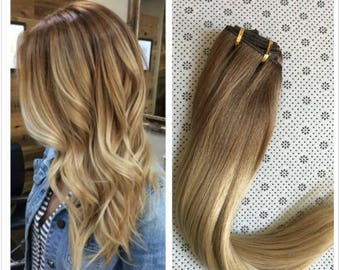 Full Head Dip dye Clip in Human Hair extensions Ombre 6 Pcs Light brown to light blonde