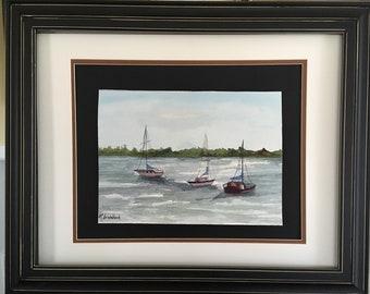 Original fine art, watercolor, seascape, sailing boats, painted in Florida- Coco Beach Sailing