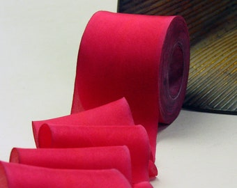 "Hand Dyed Silk Ribbon 2.5"" Red Wisdom Color 153 - 3 yard Bias Cut Length"