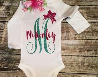 Personalized Monogram Bodysuit Sparkle Baby Girl Clothes Baby Girl Shirt Cute Baby Clothes Baby Gift Monogram Gift
