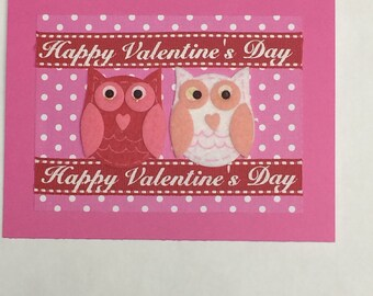 Valentine's Day Owls Card with Red Ribbon