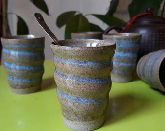 Coffee cup set stoneware ristretto handmade wheelthrown pottery ceramic gift dishes #madeinfrance #contreraspottery #parispottery