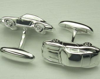 Unique Sterling Silver Cufflinks - handmade in the design of a Porsche 993 sports car - the perfect gift for him!