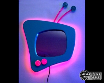 Neon 'TV' Mirror for the Wall Modern Space Age Retro Design Handmade in USA