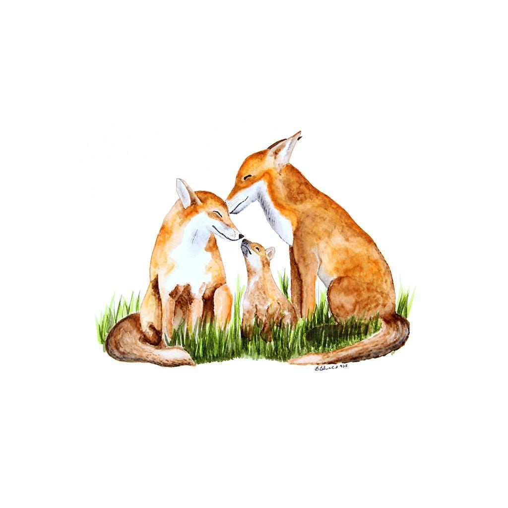 Fox Family Painting Woodland Nursery Art Fox Watercolor