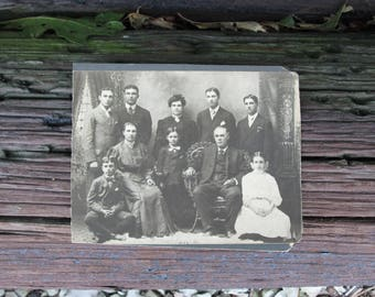 Vintage Black and White Photograph Victorian Family on Mat Board