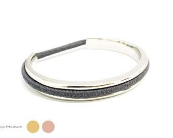 Hair Tie Bracelet, Hair Tie Bracelet Holder - Classic Design Steel Silver