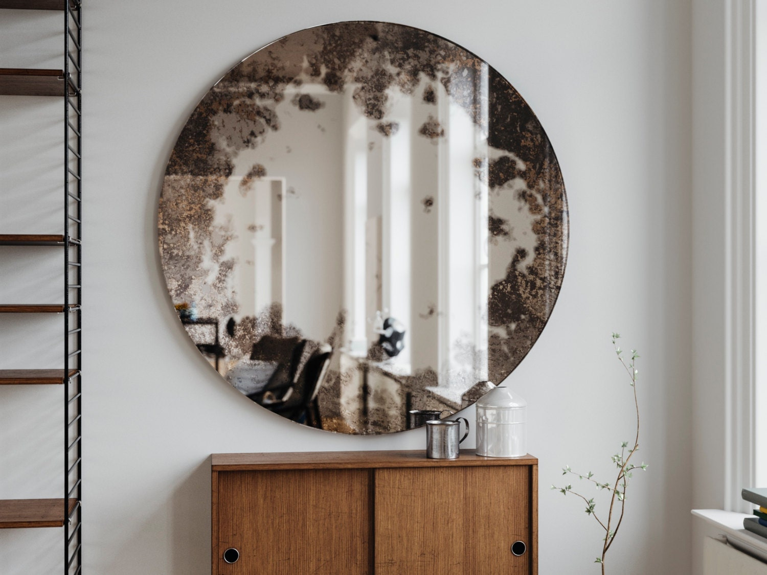 Frameless Antique Mirror Round Hanging Wall Mirror Made With
