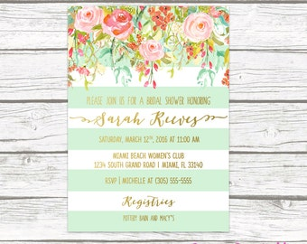 Floral Bridal Shower Invitation, Boho Bridal Shower Invite, Spring Bridal Shower Invitation, Mint Green and Gold Wedding Shower Printable