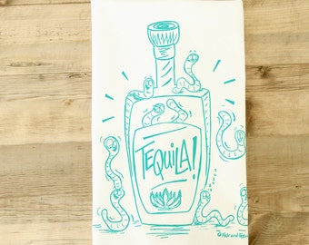 Tequila Worm Tequilla Agave Mexican Mexico Tea Towel Dish Towel