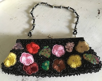 Beaded, Sequined & Embroidered Black Evening Bag