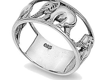 Men Women Sterling Silver Wedding & Engagement Ring Elephant Ring 10mm(SNRP141037)