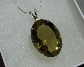 Smokey Quartz Sterling Silver 25 X 19 mm Stone - Just A Beautiful Stone   (NF13)