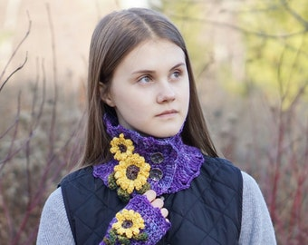 Sunflower Scarf, Purple Floral scarf, hand painted merino wool, sunflower scarf, Sunflower scarf, READY to SHIP, gift for her, floral scarf