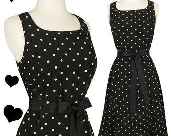 Vintage 80s Dress / Rockabilly Dress / Pinup Dress / 80s does 50s / Polka Dot Dress / Black Cream S Small M Medium Sleeveless Full Skirt