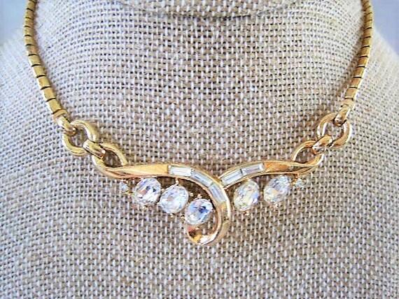 Crown Trifari Necklace,  Pat. Pend, Alfred Philippe, Baguette Rhinestone, Wedding Choker