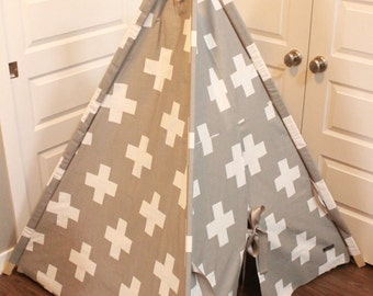 Toddler Teepee - Play Tent - Grey & White Swiss Cross