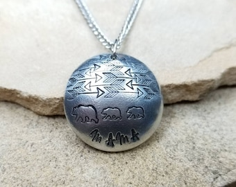 Mama- Pewter Pebble Hand Stamped Necklace With Arrows And Bears- Customize Your Way