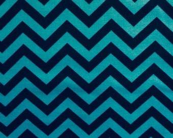 "100% cotton quilting fabric black/turqouise chevron fat quarter 18""X22"""