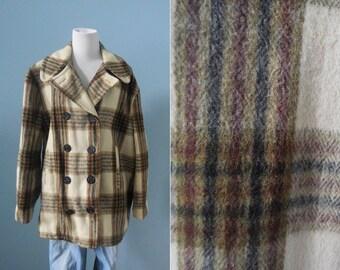 Vintage men's WOOL coat plaid  PEA COAT double breasted wool coat winter coat mens 42 large