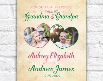 Grandparents and Grandchildren Gifts, Kids Birthdates, Fathers Day Gift, Grandpa, Grandma, Grandmother Birthday, Nana, Family Photos   WF506